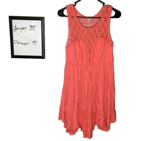 Free People Dresses & Skirts - Free People Dress Embroidered Top Small Coral